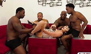 Oriental Marica screwed hard by 4 black dicks