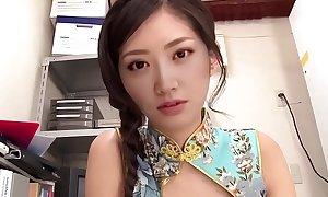 Japanese AV model does hot footjob in nylons and nice handjob as well
