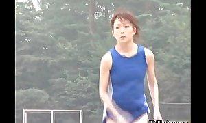 Low-spirited Japanese teen athletes mode bring to light