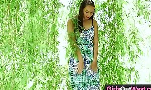 Beauties in foreign lands west - exotic non-professional chick plays with glass toy