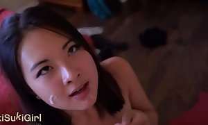 pov EPIC DEEPTHROAT Oriental woman Gives him a head DRY