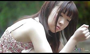 Shy Japanese teen bettor first time erotic alfresco tease