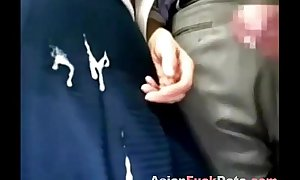 Japanese public bus cook jerking