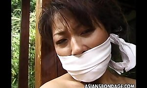 Plighted matured Asian cougar just about a habitation scantling