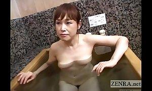 Pale Japanese fit together forgather together AV bathing toadying tugjob Subtitled